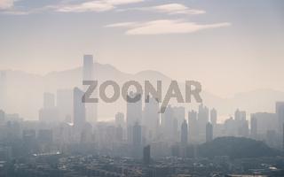 Hong Kong skyline at an overcast day