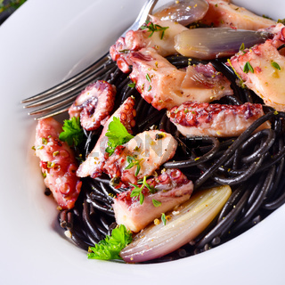 octopus with black spaghetti and garlic sauce