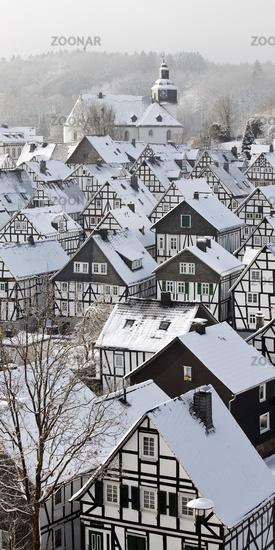 Alter Flecken, the historical old town in winter, Freudenberg, Siegerland, Germany