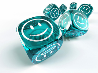 Dice with different emotions on faces on white isolated background. 3d