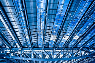 Abstract blue ceiling and construction