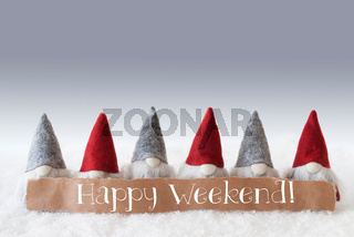 Gnomes, Green Background, Text Happy Weekend