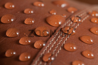 Water Drops on Brown Leather