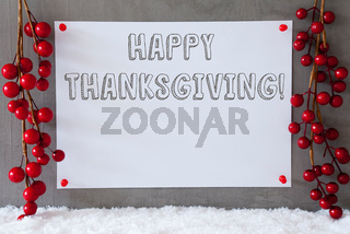 Label, Snow, Decoration, Text Happy Thanksgiving