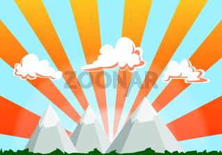 mountain landscape cartoon illustration - sunset sky and clouds