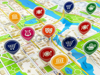 City map and pins with icons. Concept of navigation or gps.