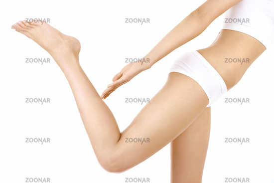 Side view of a harmonous female body