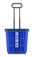 empty blue shopping basket isolated on white background. 3d illustration