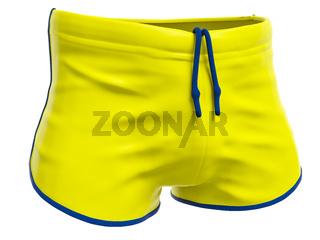 typical yellow swim trunks