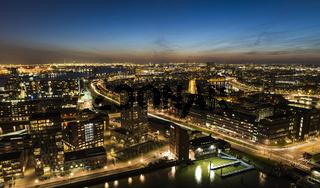 Panorama Rotterdam City Night Traffic Harbor