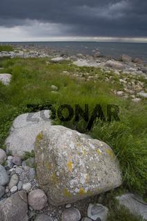 Nationalpark Jasmund, Findlinge am Steinstrand in Lohme, Insel Ruegen, Jasmund national park, Erratic boulder