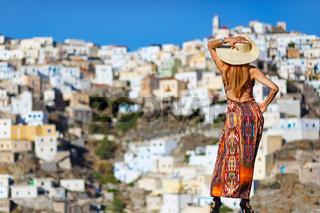 A woman at Olympos of Karpathos, Greece