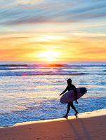 Surfing on the beach