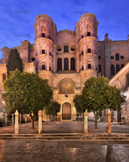 Malaga Cathedral in the Morning, Malaga, Andalusia, Spain