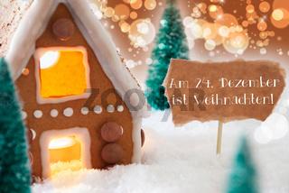 Gingerbread House, Bronze Background, Weihnachten Means Christmas