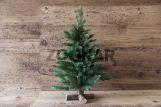 Christmas Tree, Aged Wooden Background, Copy Space