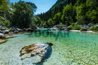 Crystal clear water in Soca river, SLovenia