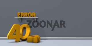 das wort error auf einem regal und die zahl 404 - 3d rendering