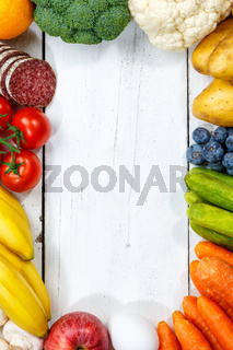 Obst und Gemüse Sammlung Lebensmittel Früchte essen kochen Rahmen Hochformat Textfreiraum von oben