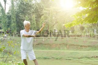 Senior people practicing tai chi outdoor