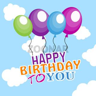 Luftballons im Himmel - Geburtstag