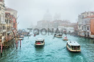 Gondola on Canal Grande with Basilica di Santa Maria della Salute in the background, Venice, Italy