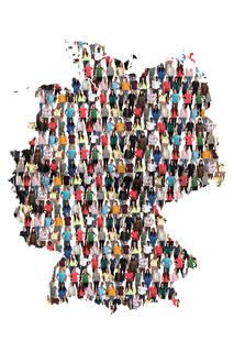 Deutschland Karte Leute Menschen People Gruppe Menschengruppe multikulturell