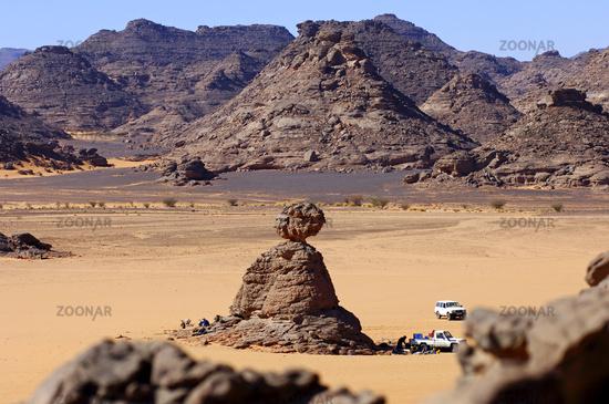 Campsite of an expedition, Sahara desert, Libya