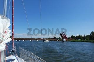 Segelboot auf der  Dievenow, Dziwna