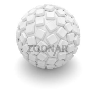 Blank white computer keys covered the sphere