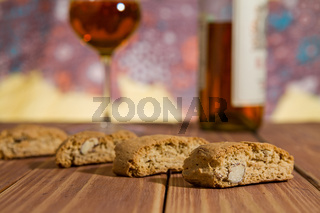 Closeup of Italian cantucci biscuits over a wooden table