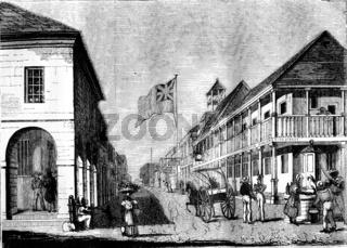 View of Kingston in Jamaica, vintage engraving.