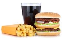 Doubleburger Double Burger Hamburger Menu Menü Menue mit Pommes Frites Cola Getränk Freisteller freigestellt