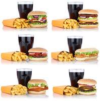Hamburger Sammlung Collage Cheeseburger Menu Menü Menue Pommes Frites Cola Getränk Freisteller
