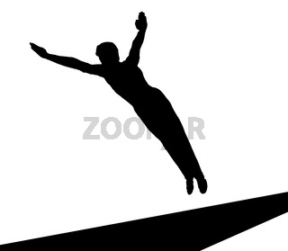Bodenturner im Flug als Silhouette in schwarz / Weiß