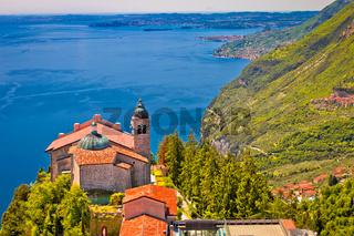 Madonna di Montecastello hermitage above Lago di Garda view from above