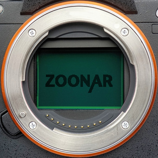 Lens ring of a full-size camera with an open sensor plate