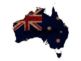 Karte von Australien auf Textur - Textured map of Australia