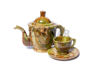 teapot and cups made of onyx