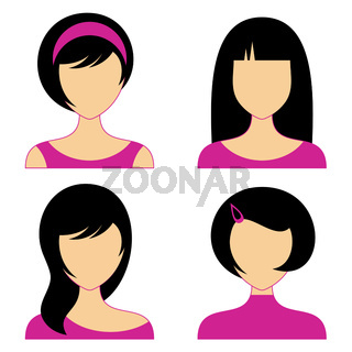 Vector woman face icons with various hair style