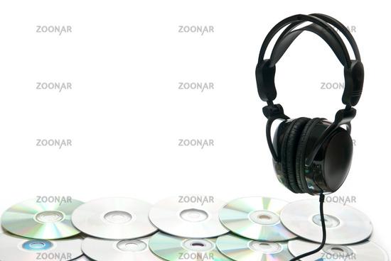 black headphones and lots of CDs