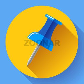 Flat Push pin icon vector