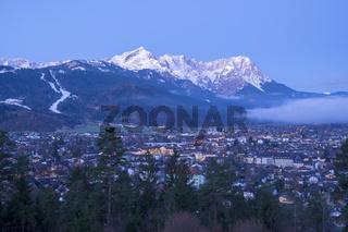 View to Garmisch-Partenkirchen in the morning
