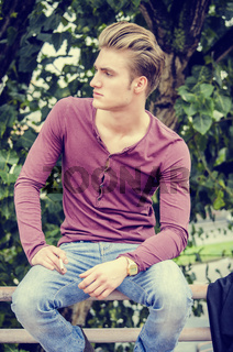 Attractive blue eyed, blond young man