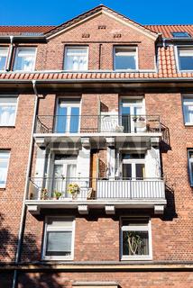 facade of urban house in Hamburg city