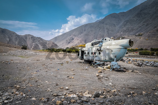 Old destroyed helicopter