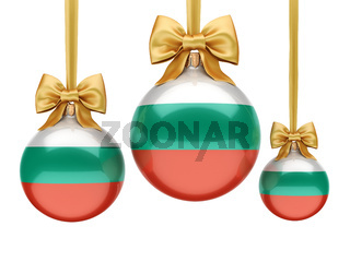 3D rendering Christmas ball with the flag of Bulgaria