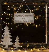 Window, Lights In Night, Merry Christmas And Happy New Year