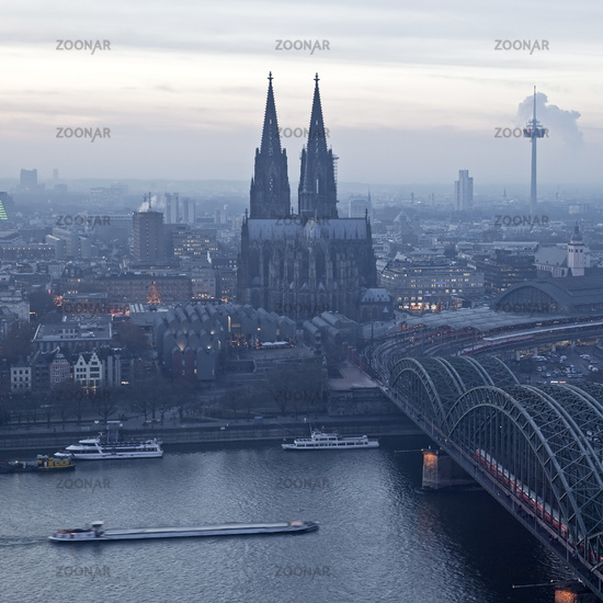 cityscape of Cologne with cathedral and brigde over Rhine, Cologne, Germany, Europe