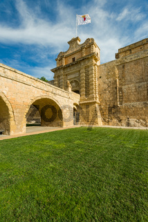 Fortified entrance,city gate in Mdina,Malta